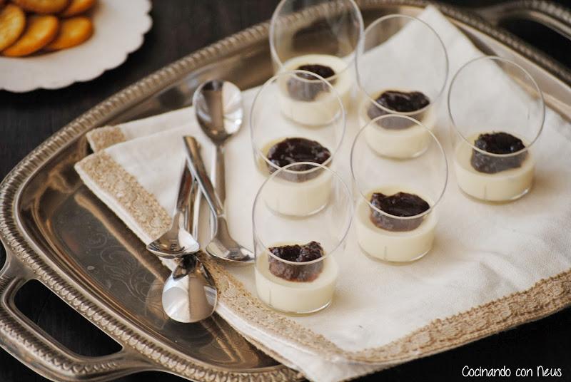 Vasitos de pannacotta de parmesano con salsa de uva y almendras Can Bech