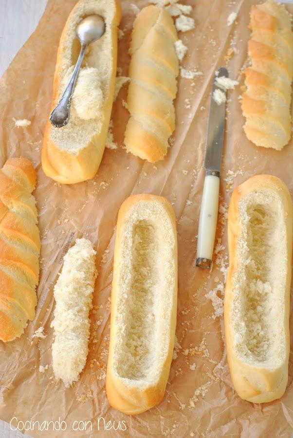 Baguetinas rellenas de queso emmental y beicon