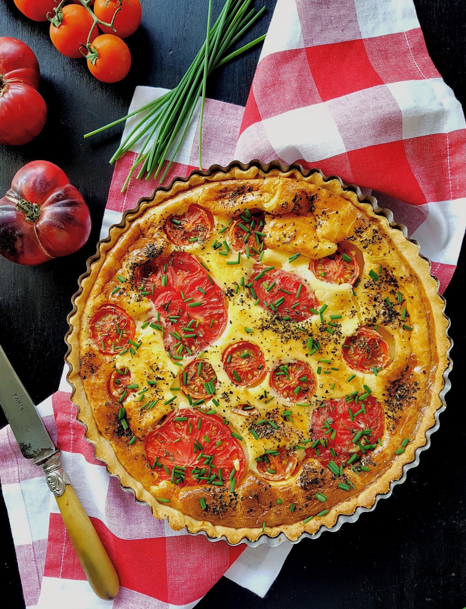 Tarta de quesos con tomate con Thermomix