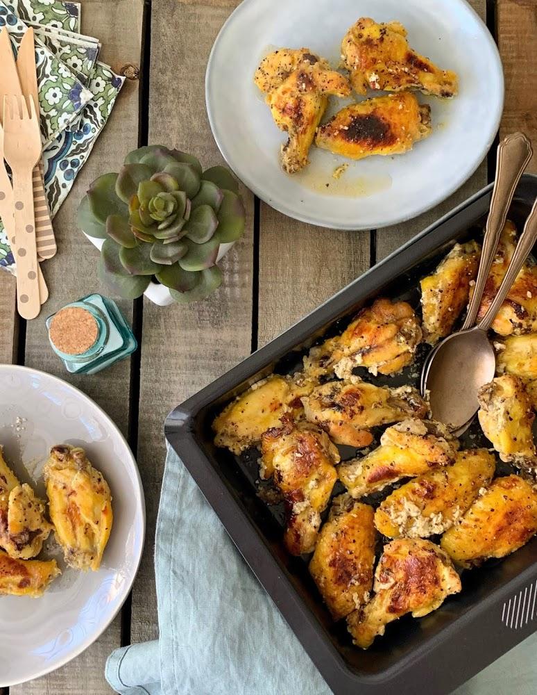 Alitas de pollo maceradas con yogur, mostaza y miel, Cocinando con Neus