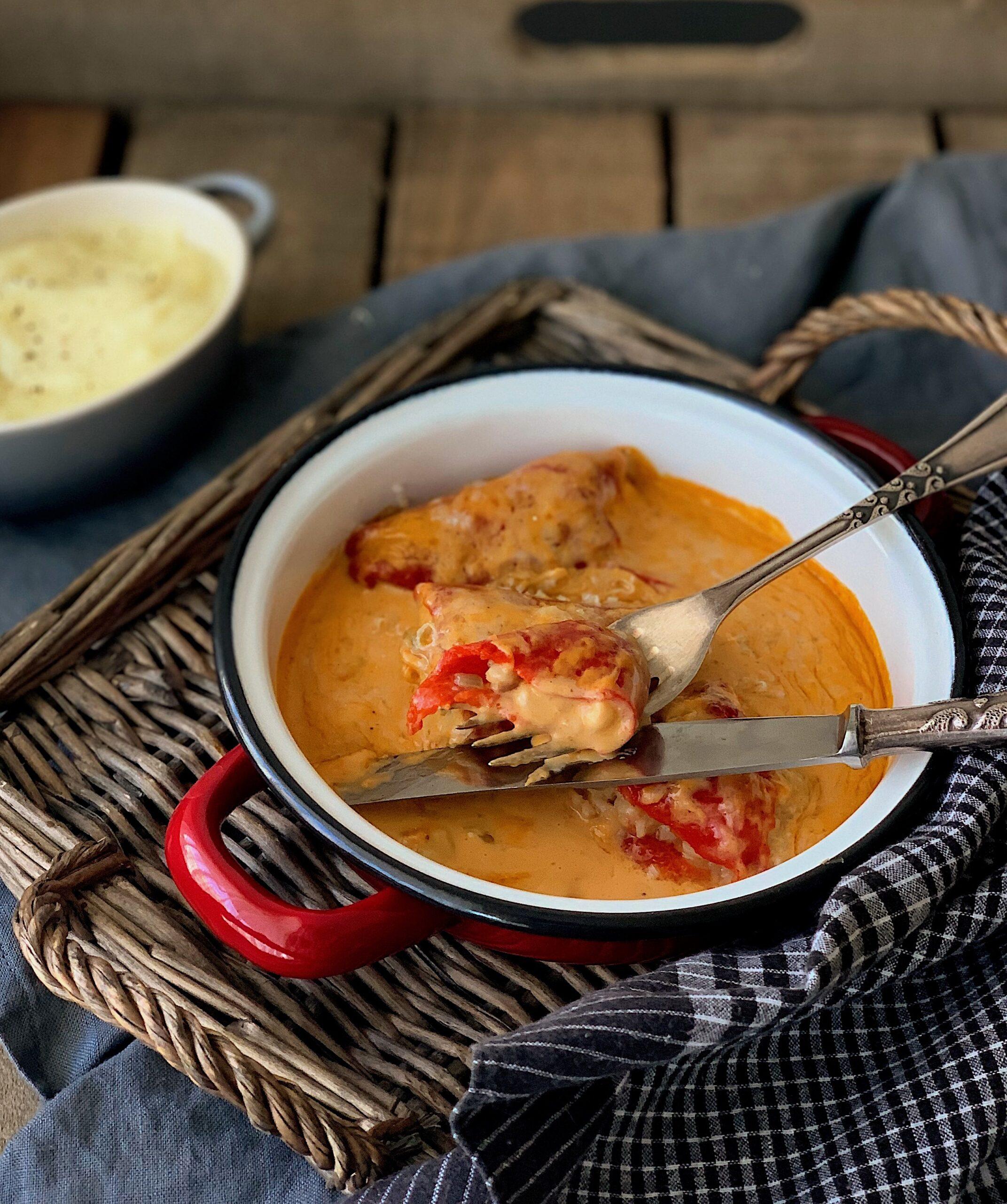 Pimientos del piquillo rellenos de merluza y gambas, Cocinando con Neus