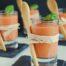 Chupito de crema fría de tomate y albahaca con Thermomix