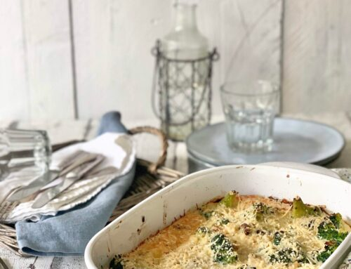 Brócoli con champiñones y gratén crujiente
