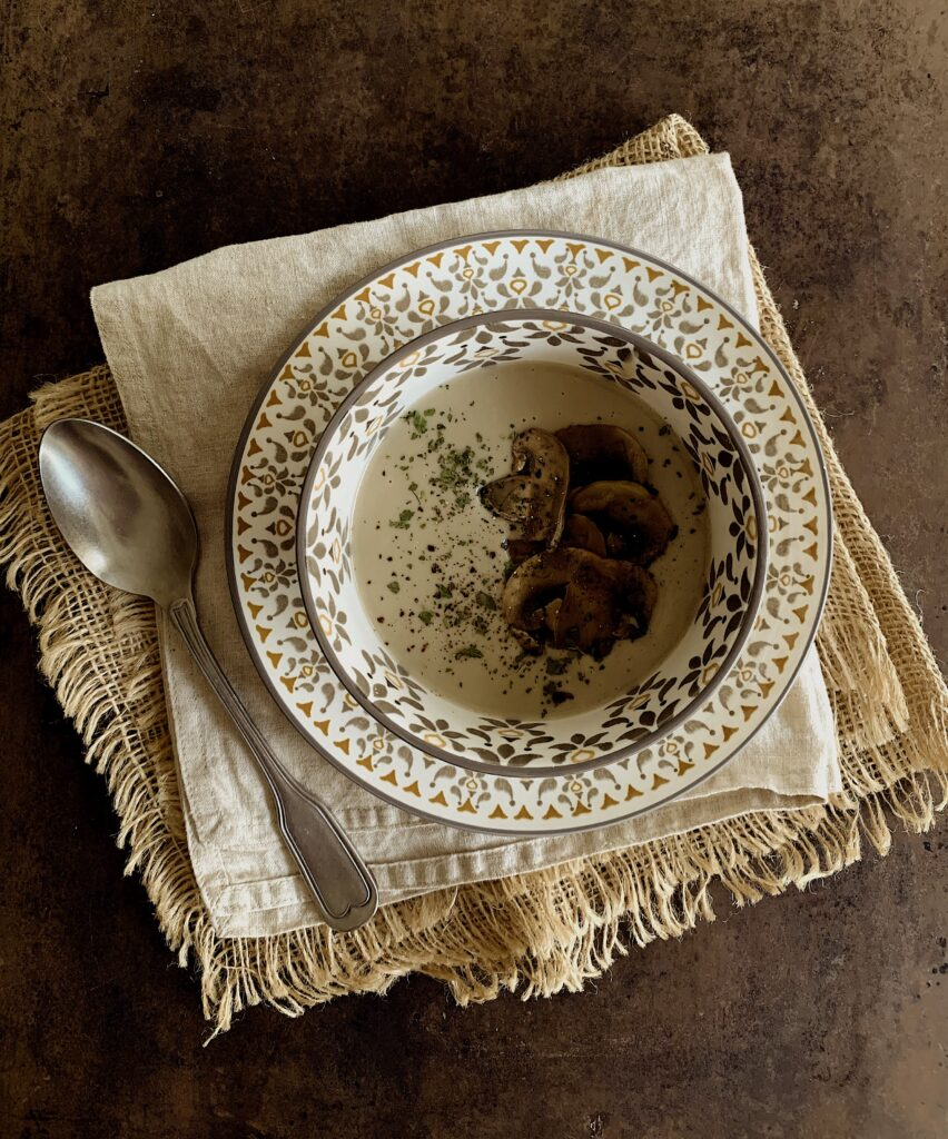 Crema de champiñones suave