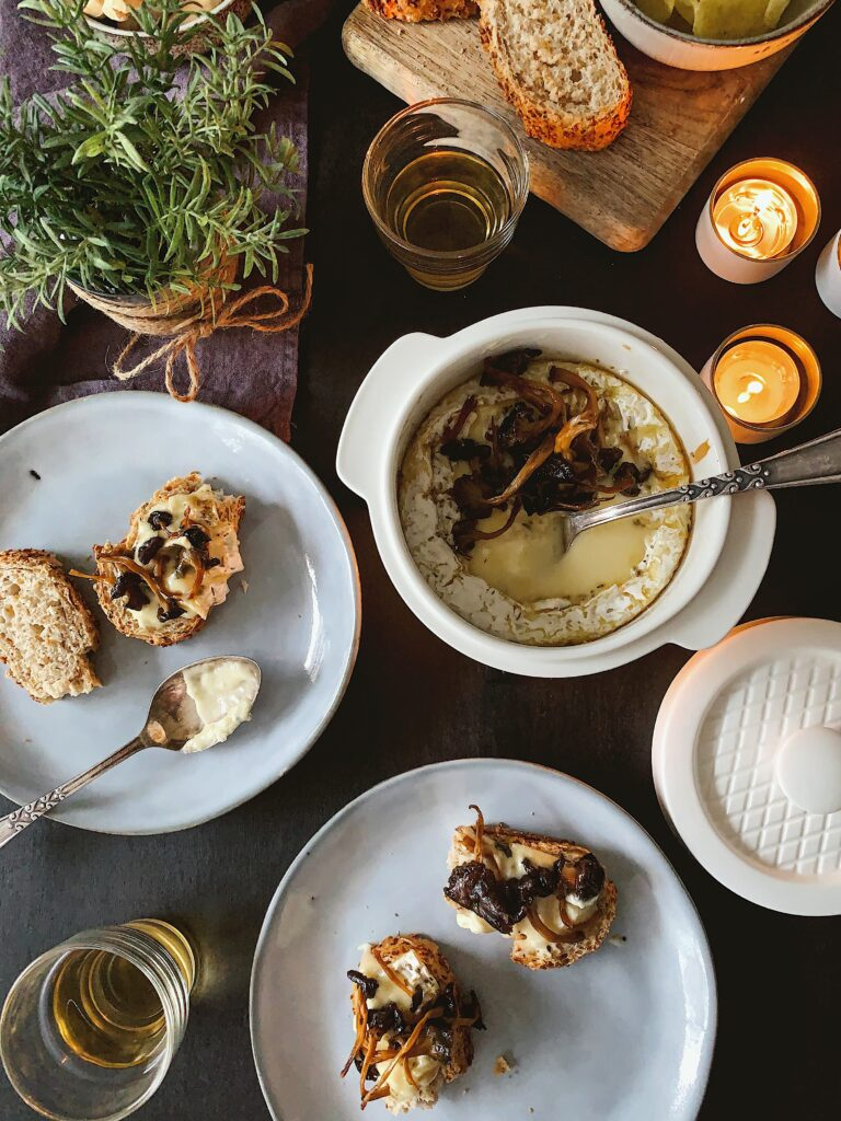 Fondue de camembert con setas