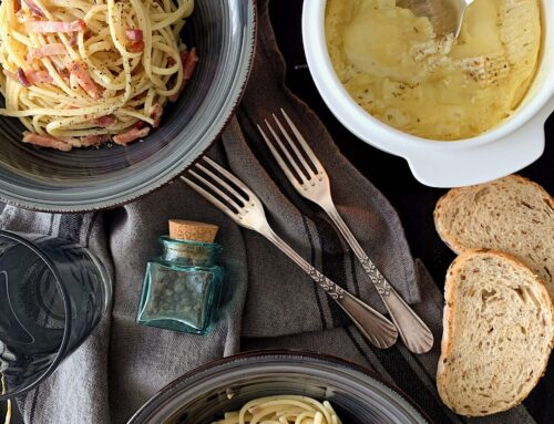 Spaguettis con  camembert asado #Boska