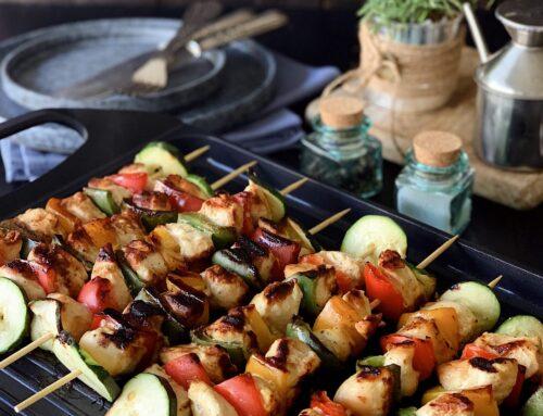 Brochetas de pollo y verduras con mostaza y miel #Masterprosmart